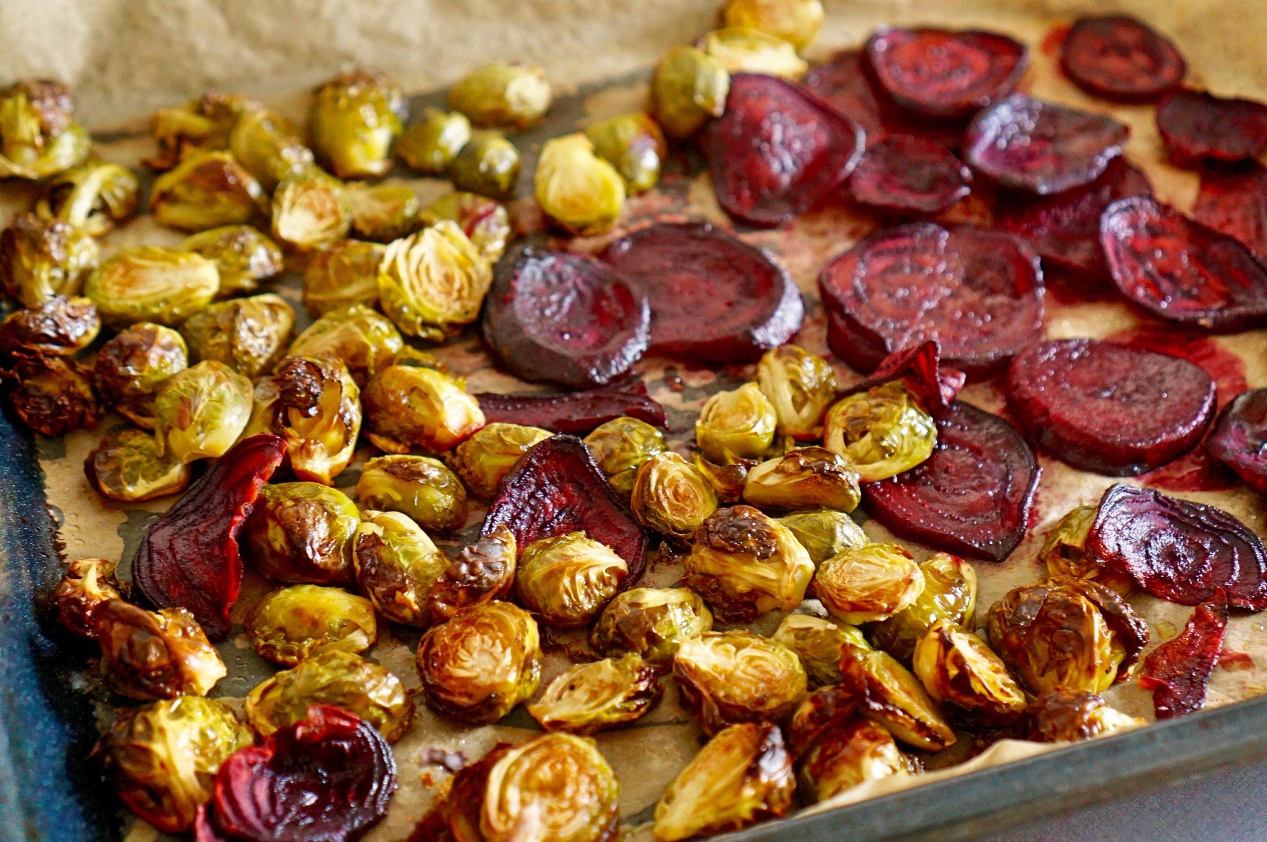 Rosenkohl und Rote Beete aus dem Ofen